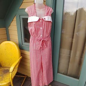 Vintage 70s JC Penney Red Gingham Romper Pantsuit